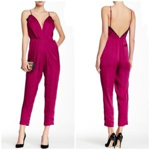 Lovers + Friends XS My Way Berry Lacey Jumpsuit